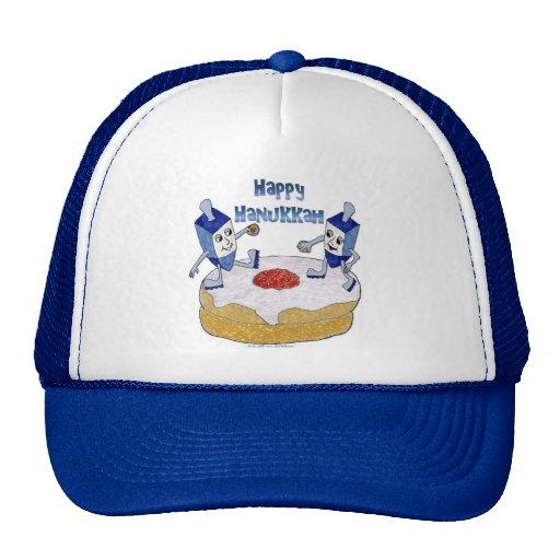 Judaica Happy Hanukkah Dancing Dreidels Doughnut Trucker Hats