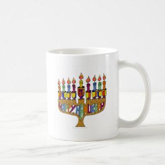 Judaica Happy Hanukkah Dreidel Menorah Basic White Mug