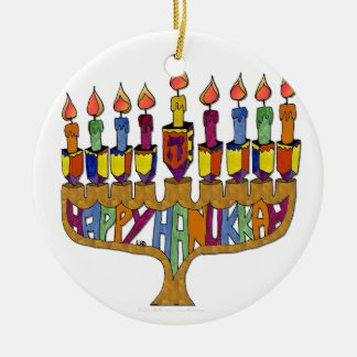 Judaica Happy Hanukkah Dreidel Menorah Christmas Ornament