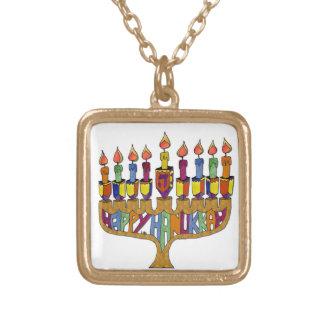 Judaica Happy Hanukkah Dreidel Menorah Gold Plated Necklace