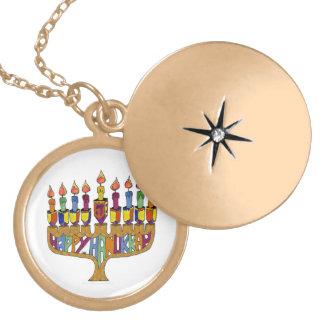 Judaica Happy Hanukkah Dreidel Menorah Locket Necklace
