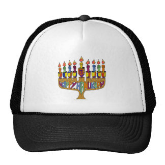 Judaica Happy Hanukkah Dreidel Menorah Mesh Hat