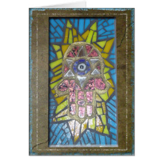 Judaica: Mosaic Glowing Hamsa w/Star of David Card