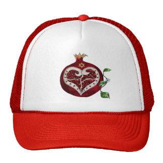 Judaica Pomegranate Heart Hanukkah Rosh Hashanah Cap