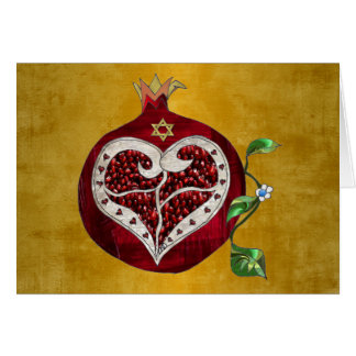 Judaica Pomegranate Heart Hanukkah Rosh Hashanah Card