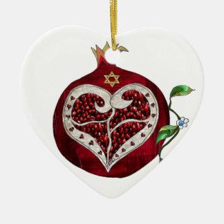 Judaica Pomegranate Heart Hanukkah Rosh Hashanah Christmas Ornament