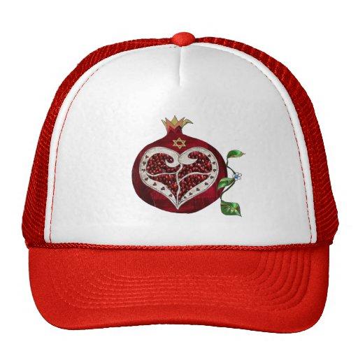 Judaica Pomegranate Heart Hanukkah Rosh Hashanah Mesh Hats