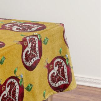 Judaica Pomegranate Heart Hanukkah Rosh Hashanah Tablecloth