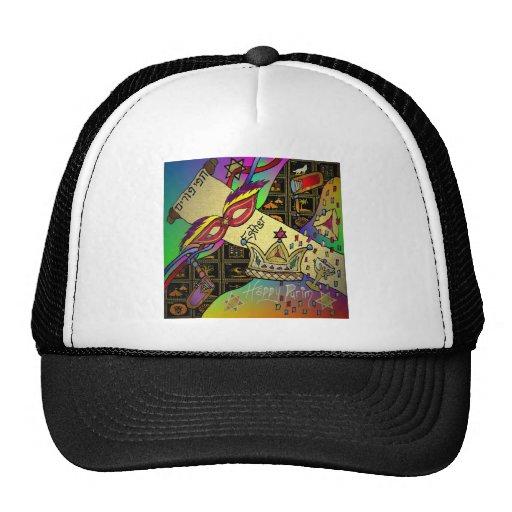 Judaica Purim Esther Celebration Art Print Hats