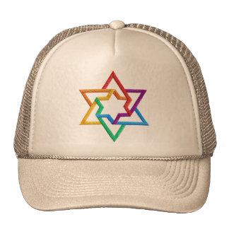 Judaica Rainbow Stars of David Hat