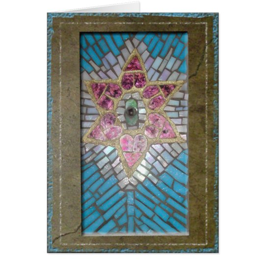 Judaica: Stained Glass Mosaic Hearts Star of David