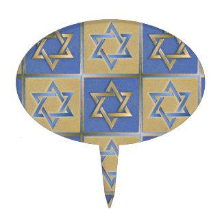 Judaica Star Of David Metal Gold Blue Cake Picks