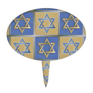 Judaica Star Of David Metal Gold Blue Cake Topper
