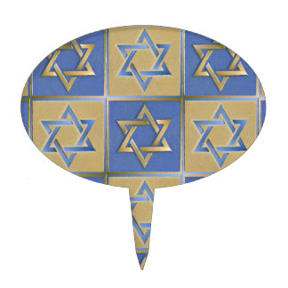 Judaica Star Of David Metal Gold Blue Cake Toppers