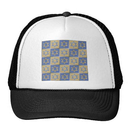 Judaica Star Of David Metal Gold Blue Hat