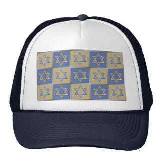 Judaica Star Of David Metal Gold Blue Mesh Hat