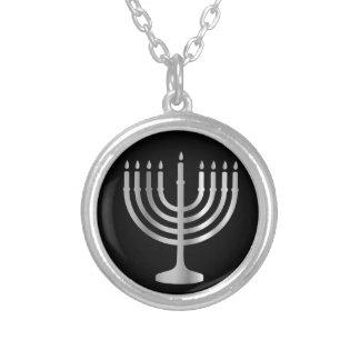 Judaism Menorah Silver Plated Necklace