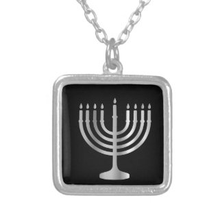 Judaism Menorah Silver Plated Necklace