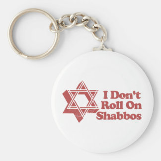 Judaism Roll Shabbos Basic Round Button Key Ring