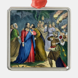 Judas Betrays his Master, from a bible printed by Silver-Colored Square Decoration