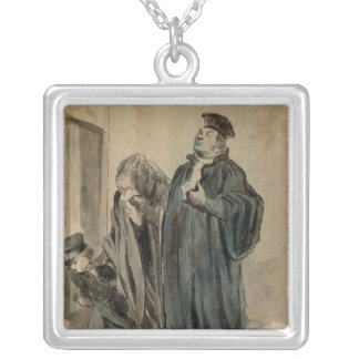 Judge, Woman and Child Silver Plated Necklace