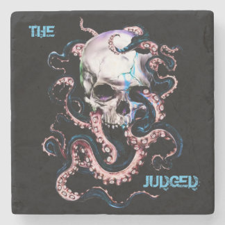 Judged Octopus  Skull Marble Stone Coaster