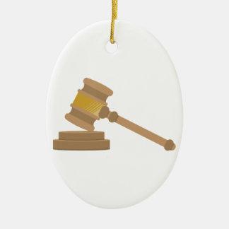 Judges Gavel Ceramic Oval Decoration