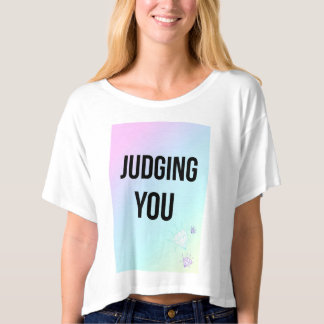 Judging You Slogan Boxy Crop Top White