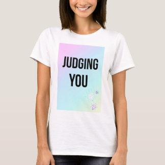 Judging You Slogan Pastel Print White T-Shirt