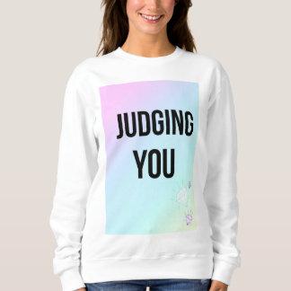 Judging You Slogan White Jumper Pastel Print Sweatshirt