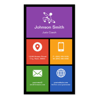 Judo Martial Arts Lessons Colorful Tiles Creative Pack Of Standard Business Cards