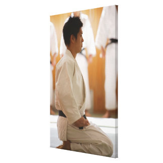 Judo Master Kneeling On a Mat Canvas Print