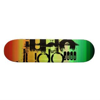 Judo; Vibrant Green, Orange, & Yellow Skateboard Deck