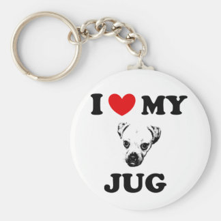 jug dog basic round button key ring