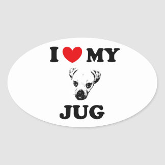 jug dog oval sticker