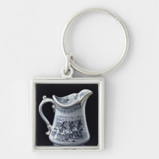 Jug with a depiction of the Charge of the Scots Silver-Colored Square Key Ring