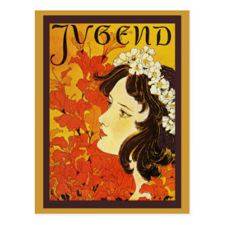 Jugend Youthful Girl with Flower Garland Postcard
