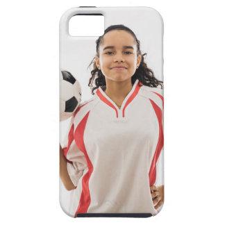 Jugendlich Mädchen, das in der Hand Fußball, Portr iPhone 5 Covers