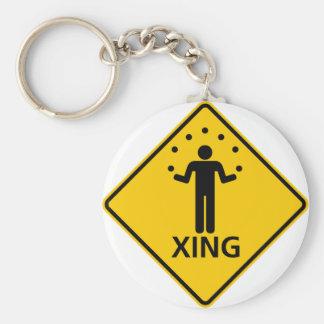 Juggler Crossing Highway Sign Key Ring