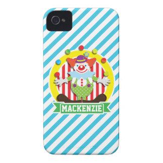 Juggling Big Top Circus Clown; Blue Stripes Case-Mate iPhone 4 Cases