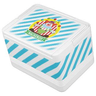 Juggling Big Top Circus Clown; Blue Stripes Igloo Cooler