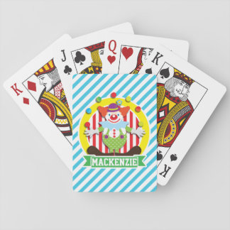 Juggling Big Top Circus Clown; Blue Stripes Playing Cards