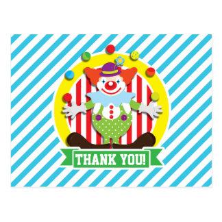 Juggling Big Top Circus Clown; Blue Stripes Post Card