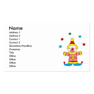 Juggling cartoon party clown business card template