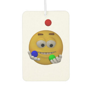 Juggling emoticon, animation style car air freshener