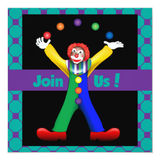 Juggling Happy Clown Party Poem Invitation