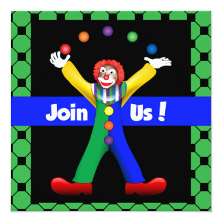 "Juggling Happy Clown Party Poem Invitation 5.25"" Square Invitation Card"