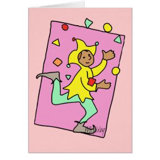 Juggling Jester Cartoon Cute Child Illustration Card