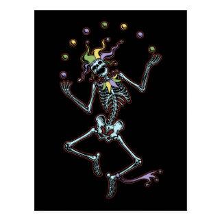 Juggling Jester Skeleton Postcard