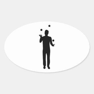Juggling juggler oval stickers